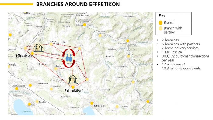 Example of new team organization in the canton of Zurich / around Mendrisio / in the Lausanne region