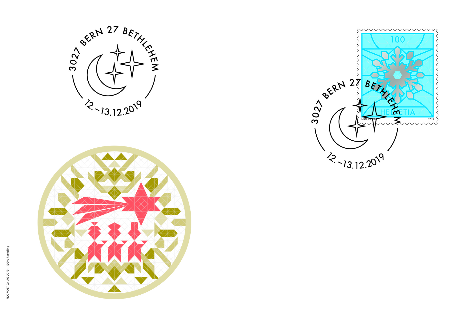 Dieses Jahr zieren Sichelmond und Sterne den Weihnachtsstempel von Bethlehem. Den Bethlehem-Sonderstempel 2019 hat Manuel Ort, Grafiker aus Bern, konzipiert.