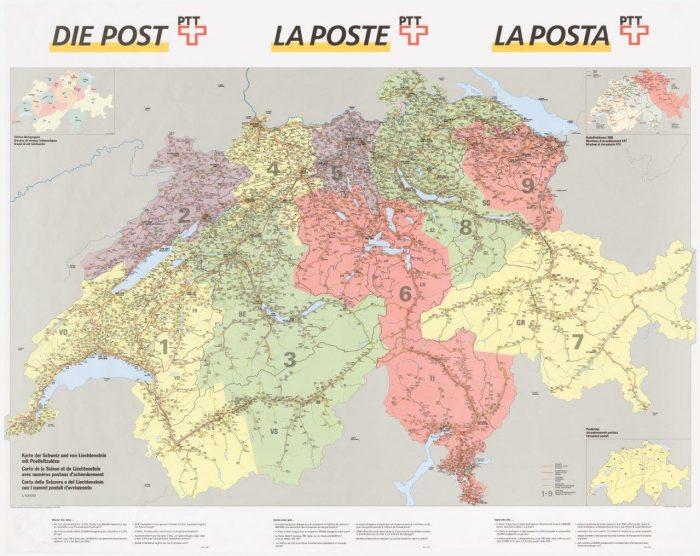 Von 1000 wie Lausanne bis 9658 wie Wildhaus SG: Die Landkarte der Postleitzahlen in der Schweiz.