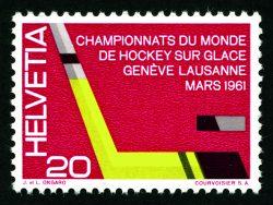Kult: Werbepostmarke von 1961. Im PTT-Amtsblatt steht: «Eishockeystock und Puck, dreifarbig» | Sujet: J. & L. Ongaro