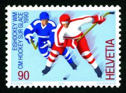 Wie die Figuren beim Tischhockey: Sonderpostmarke von 1990. | Sujet von Roland Hirter.