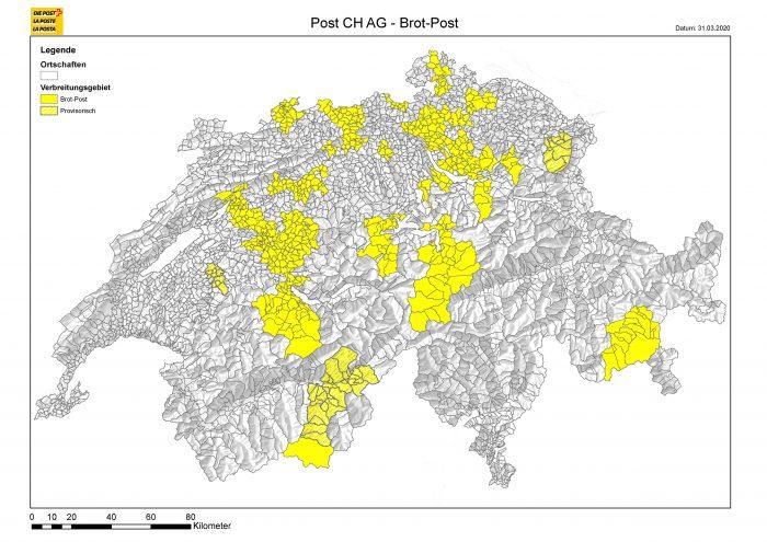 In queste regioni della Svizzera è disponibile il servizio «Il pane per posta» (situazione al 1o aprile 2020)