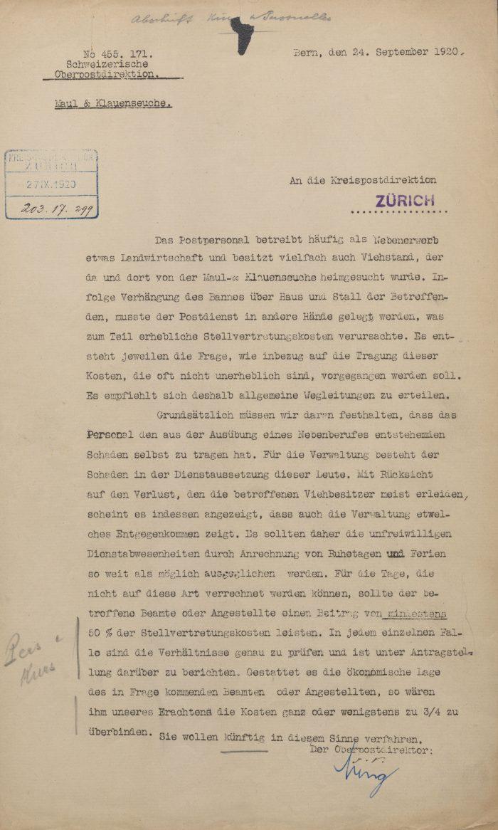 Circulaire n° 4 de mars 1920 portant sur la gestion des dommages survenus par suite de l'épidémie de fièvre aphteuse. Source I: Archives PTT, P-08A_0010_18