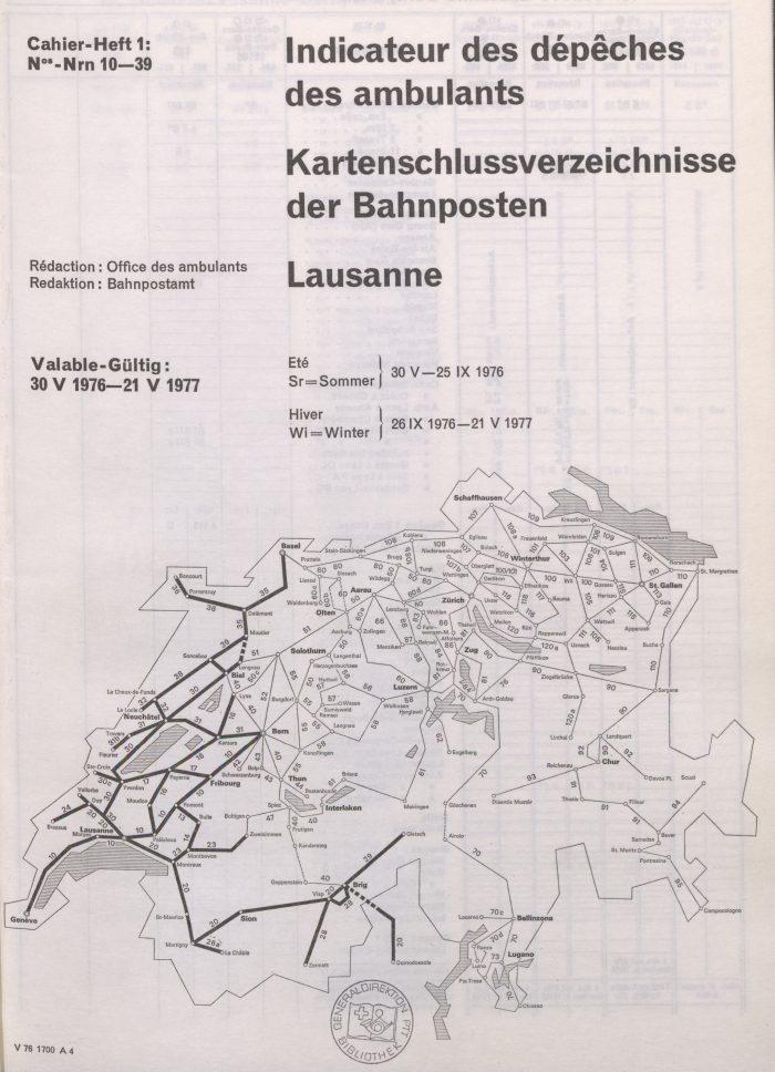 Kartenschlussverzeichnisse der Bahnpost. I PTT-Archiv_P-31-1_1976-77