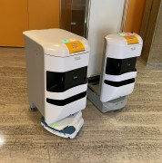 Swiss Post robots taking the lift in the hospital